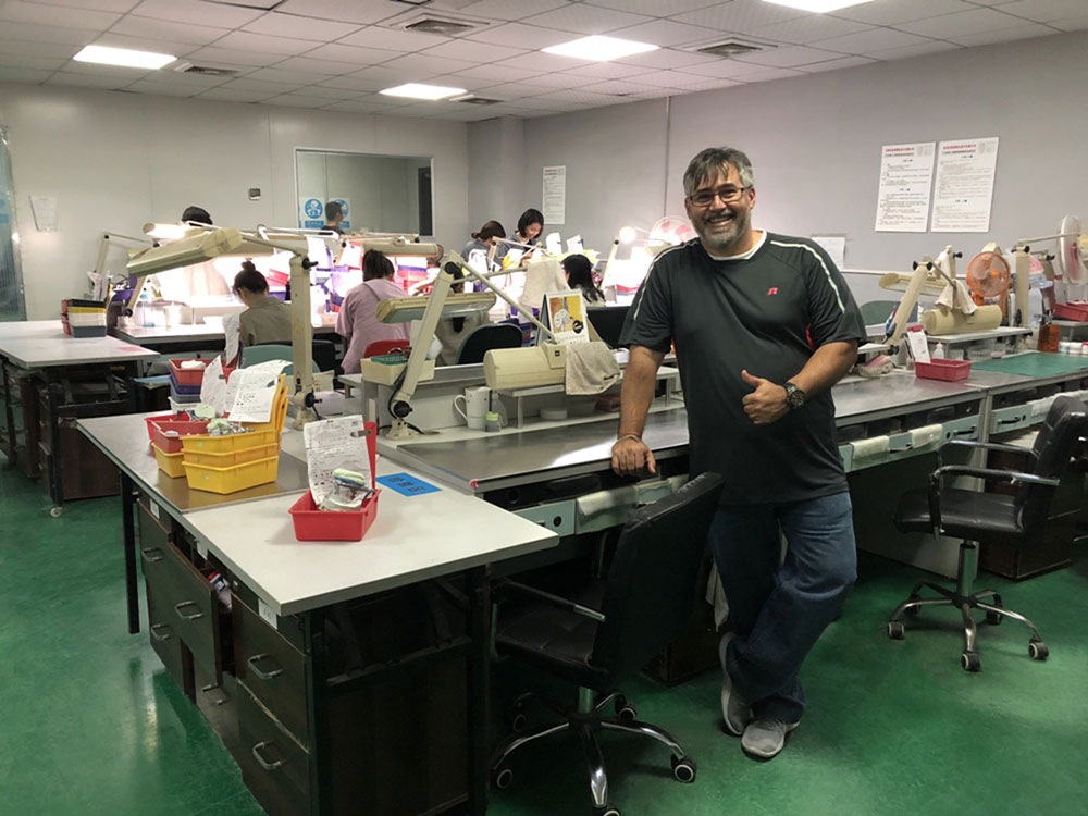 Client is visiting dental lab